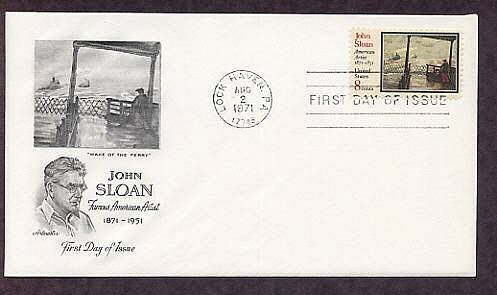 Honoring Artist John Sloan Wake of the Ferry First Issue USA