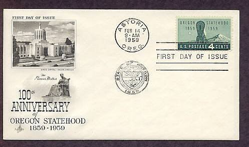 Oregon Statehood Centennial, Covered Wagon, Mount Hood, First Issue USA