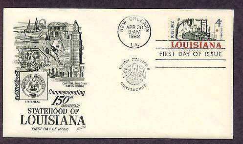 Louisiana Statehood, Riverboat, New Orleans, First Issue USA