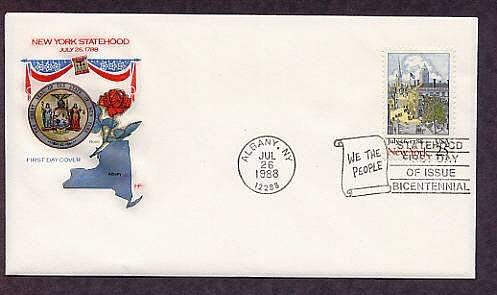 New York Statehood  Bicentennial, Federal Hall, Wall Street, Trinity Church Steeple, First Issue USA