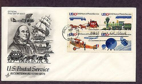 U.S. Postal Service, USPS, Bicentennial, Locomotives, Airplanes, Stagecoach, Truck, First Issue 1975