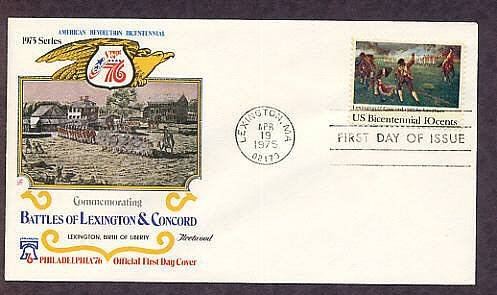 American Revolution Bicentennial, Battle of Lexington & Concord First Issue USA