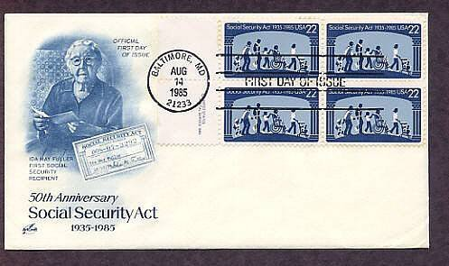 Social Security Act, Ida May Fuller, First Social Security Recipient First Issue USA