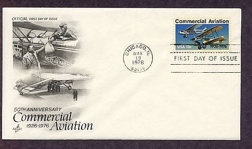 50th Anniversary Commercial Aviation, Ford-Pullman Monoplane, Laird Swallow Biplane, First Issue USA