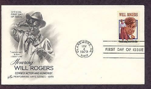 Honoring Will Rogers, Cowboy Actor and Humorist, First Issue USA