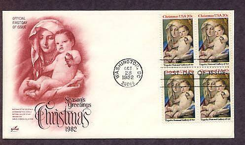USPS Christmas Stamp, Madonna and Child, 1982, Artist Tiepolo, First Issue USA