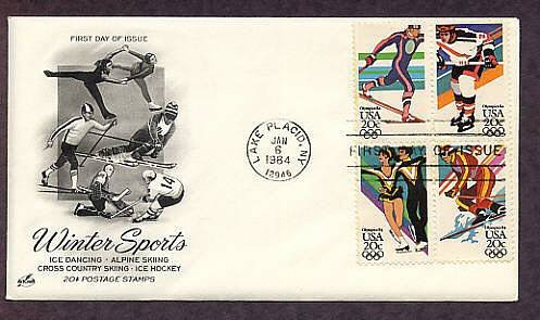 Olympics 1984, Cross Country Skiing, Ice Hockey, Ice Dancing, Alpine Skiing, First Issue USA