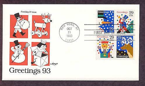 Christmas 1993 Stamps, USPS, Jack-in-the Box, Reindeer, Snowman, Toy Soldier First Issue USA