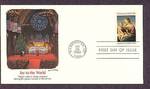 USPS Christmas Stamp, Madonna and Child, 1983,  by Raphaël, First Issue USA