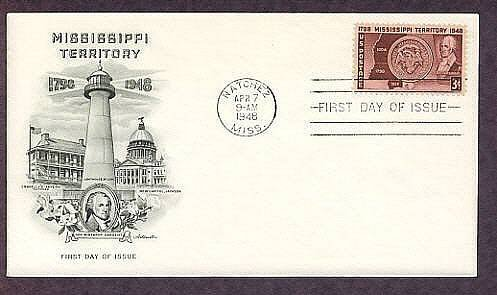 Mississippi Territory 150th Anniversary, Biloxi Lighthouse, 1948 First Issue USA