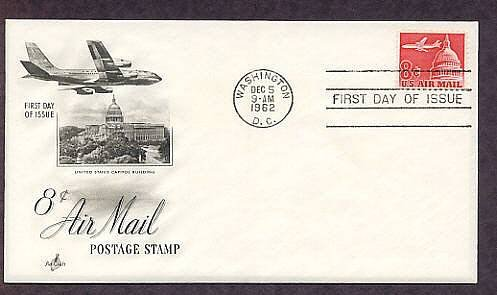 Jet Over U.S. Capitol Building, Air Mail First Issue 1962 USA