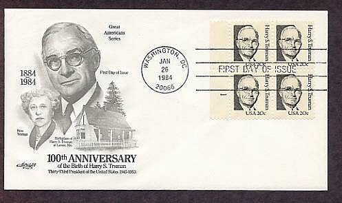 Harry S. Truman, 33rd President of the United States, Plate Block First Issue FDC