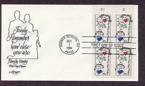 Family Unity, Stick Figure Family, Plate Block First Issue FDC USA