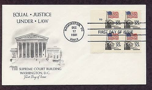 Supreme Court Building, American Flag, Plate Block First Issue FDC USA