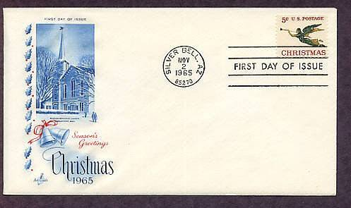 USPS Christmas Stamp 1965, Angel Gabriel Blowing his Horn, First Issue USA