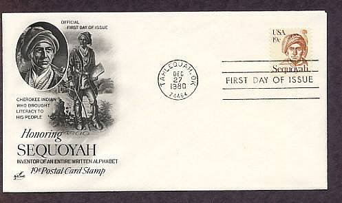 Native American, Honoring Cherokee Indian Sequoyah Oklahoma First Issue USA