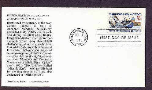 United States Naval Academy Anniversary Annapolis First Issue FDC USA
