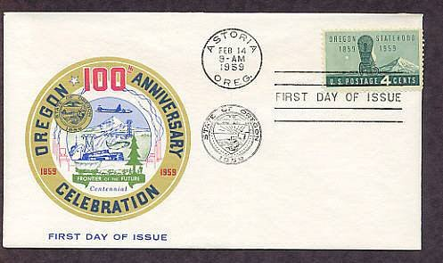 Oregon Statehood Centennial, Covered Wagon, First Issue FDC USA