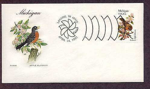 Michigan State Birds, Flowers, Apple, Robin, Lansing First Issue USA