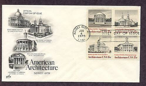 Architecture, Philadelphia Exchange, Baltimore Cathedral, Boston State House, Virginia University