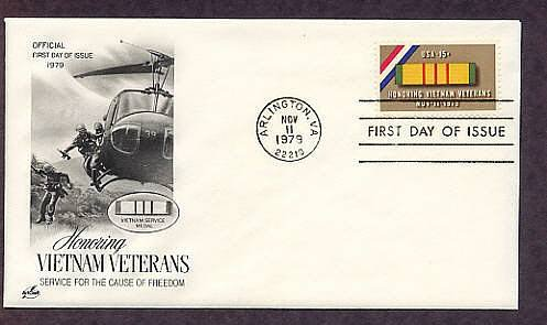 Honoring Vietnam Veterans, Helicopter, Army, 1979 First Issue USA FDC