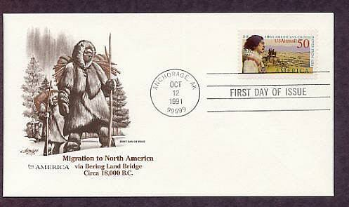 Migration of the First Americans from Asia to North America, Alaska First Issue USA