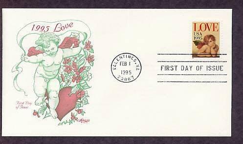 1995 USPS Love Stamp, Raphael, Cherub Valentines, Virginia First Issue USA