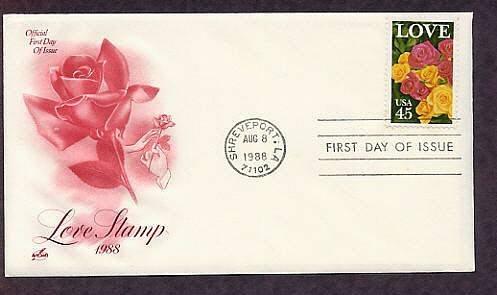 1988 Love Stamp, Flowers, Roses, Shreveport, Louisiana First Issue USA