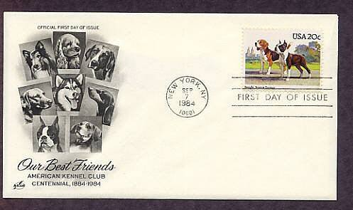 Dog Breeds Beagle, Boston Terrier,  American Kennel Club First Issue USA