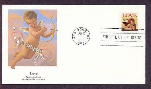 1996 USPS Love Stamp Raphael Cherub Angel First Issue USA