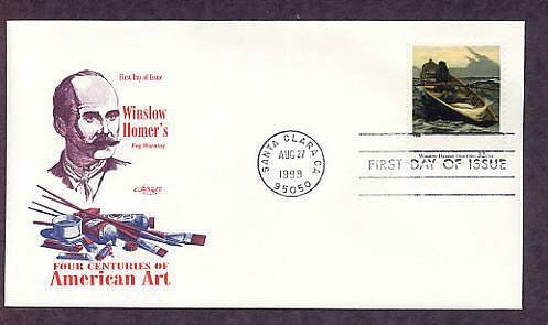 Naturalist Painter Winslow Homer, Fog Warning, American Realist Style First Issue USA