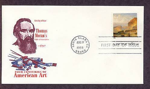 Thomas Moran, Green River Cliffs, Dean of American Landscape Painters, First Issue, AM, FDC
