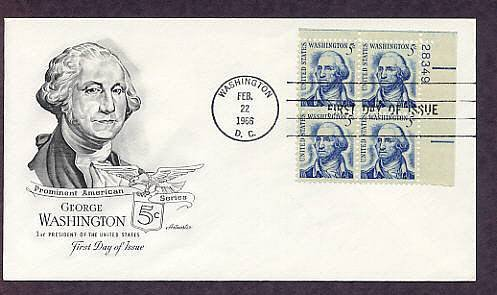 First U.S. President George Washington, Plate Block First Issue USA
