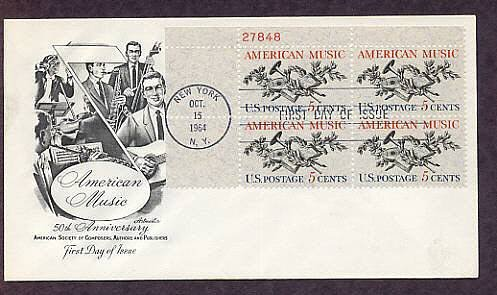 American Music, 50th Anniversary American Society of Composers First Issue Plate Block USA