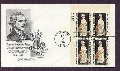 Honoring American Artist John Singleton Copley, Plate Block First Issue USA