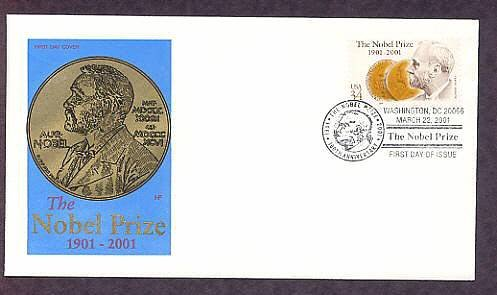 100th Anniversary of the Nobel Prize, Alfred Nobel, First Issue USA