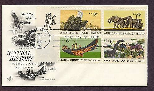 Natural History, Elephant, Bald Eagle, Dinosaurs, Haida Ceremonial Canoe AC First Issue USA