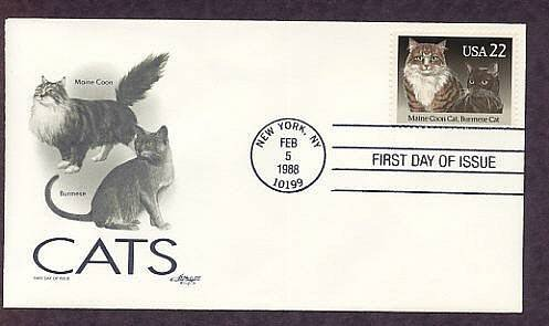 USPS Cats Stamp, Maine Coon, Burmese, AM First Issue USA