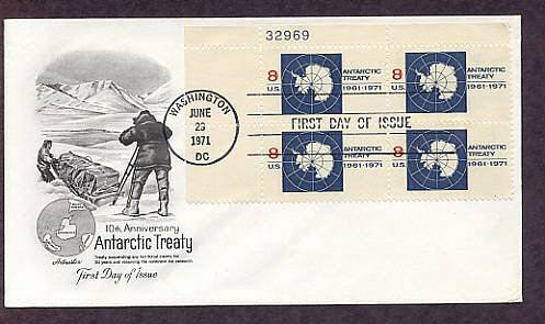 10th Anniversary of Antarctic Treaty, Plate Block, First Issue USA