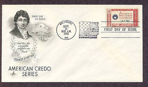 Francis Scott Key Credo, Writer of National Anthem, First Issue USA