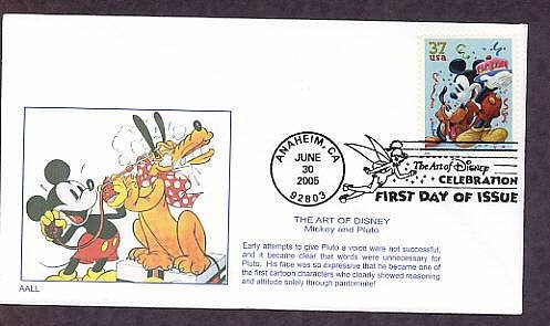 Walt Disney Art Mickey Mouse, Pluto, First Issue FDC USA