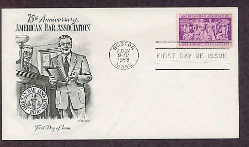 75th Anniversary of  the American Bar Association, Supreme Court, Attorney, 1953 First Issue USA