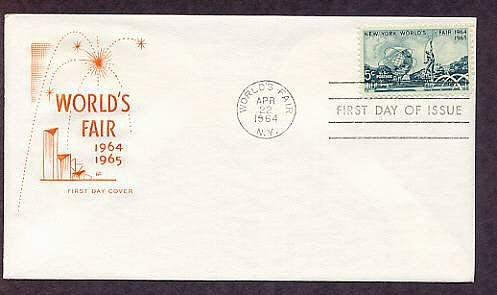 New York World's Fair Stamp, Unisphere, 1964 First Issue HF FDC USA