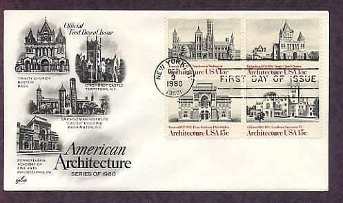 Architecture, Smithsonian, Trinity Church, Pennsylvania  Academy, Lyndhurst Castle First Issue USA