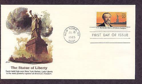 Frederic Bartholdi, Sculptor of the Statue of Liberty First Issue FDC USA