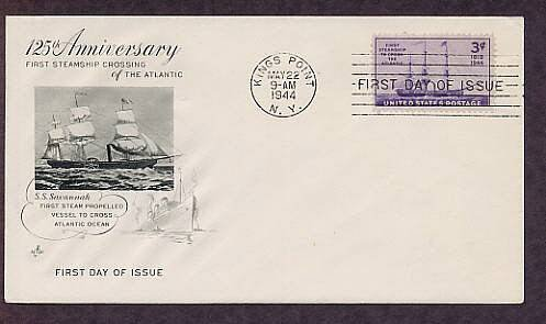 First Steamship to Cross the Atlantic Ocean, S.S. Savannah, 1944 First Issue USA