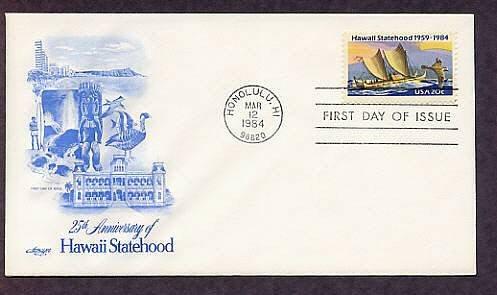 25th Anniversary, Hawaii Statehood, Eastern Polynesian Canoe, First Issue USA