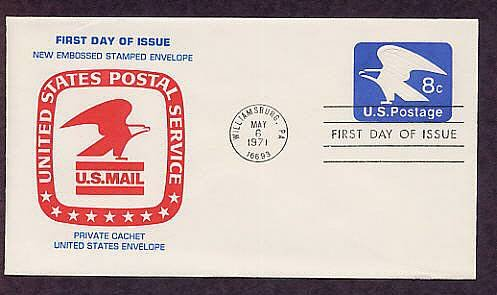 Post Office Emblem, USPS Bald Eagle, U.S. Mail First Issue 1971 USA