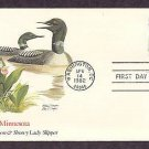 Minnesota Birds and Flowers, Common Loon, Showy Lady Slipper, FW First Issue USA