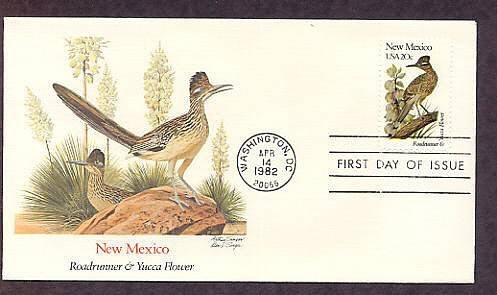 New Mexico Birds and Flowers Roadrunner, Yucca Flower FW First Issue USA